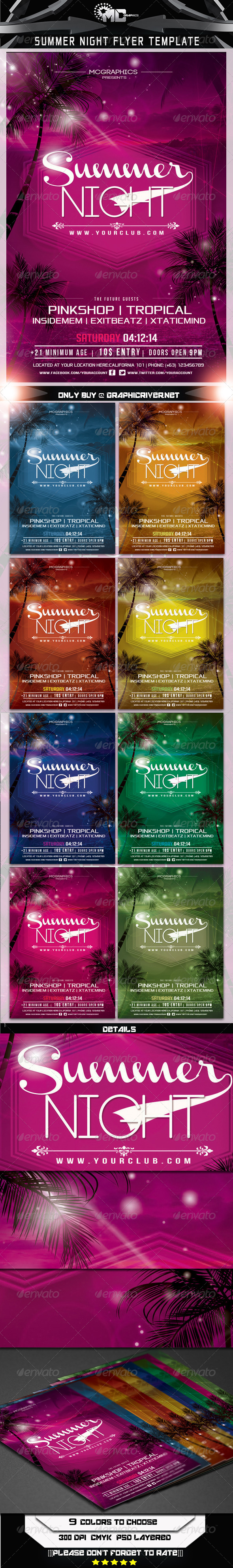 Summer Night Flyer Template - Events Flyers