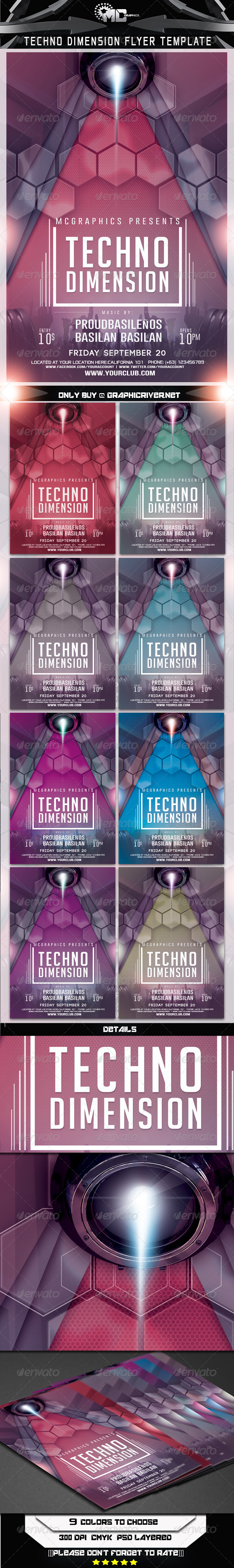 Techno Dimension Flyer Template - Clubs & Parties Events