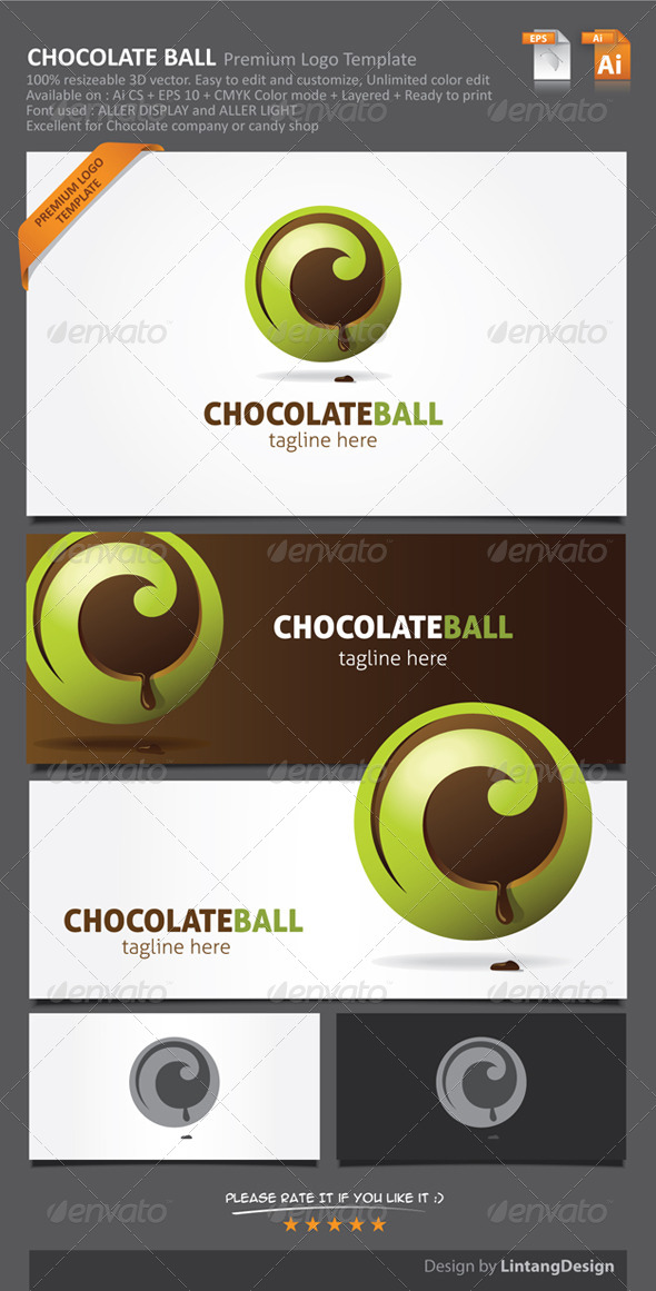 3D Chocolate Ball Logo-001 - Food Logo Templates