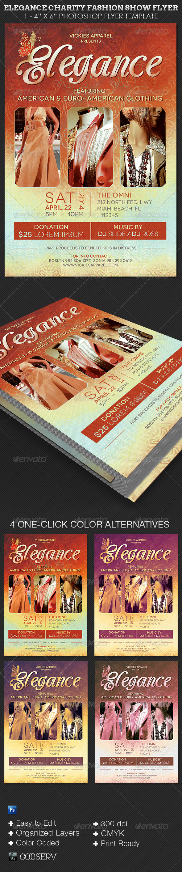 Elegance Charity Fashion Show Flyer Template  - Events Flyers