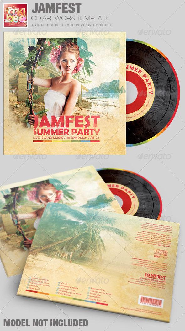 Jamfest Summer Party CD Artwork Template - CD & DVD Artwork Print Templates