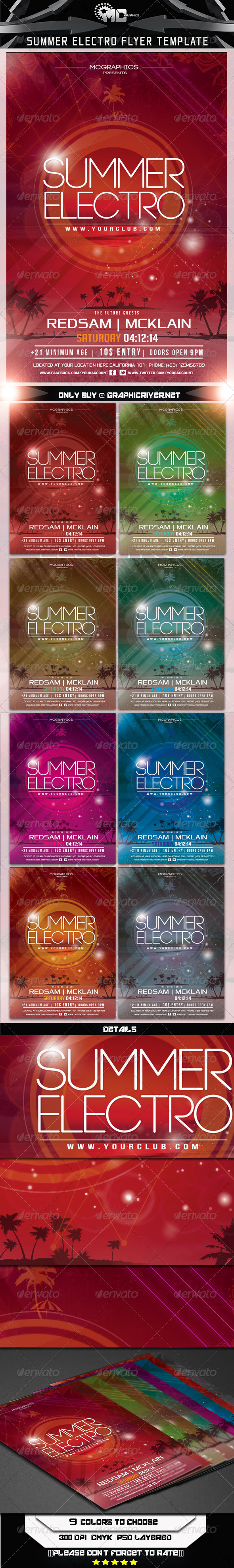 Summer Electro Flyer Template - Flyers Print Templates