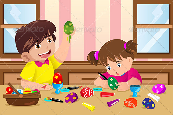 Kids Painting Easter Eggs - People Characters