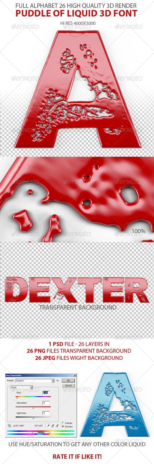 Liquid 3d Font - Text 3D Renders