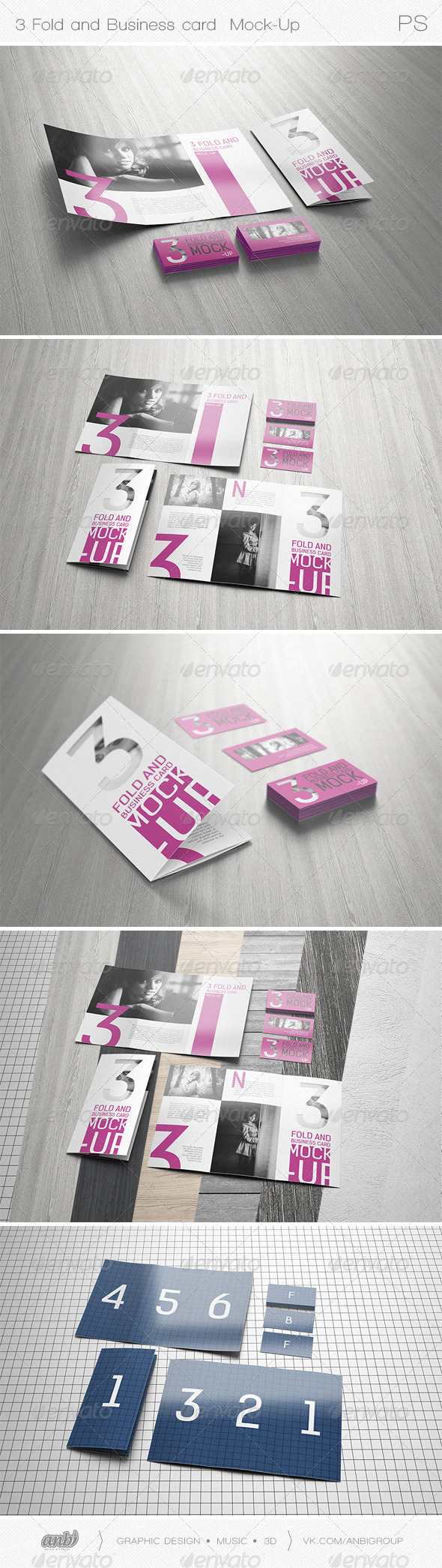 3 Fold and Business card Mock-Up - Print Product Mock-Ups