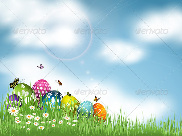 Easter Eggs in Grass - Miscellaneous Seasons/Holidays