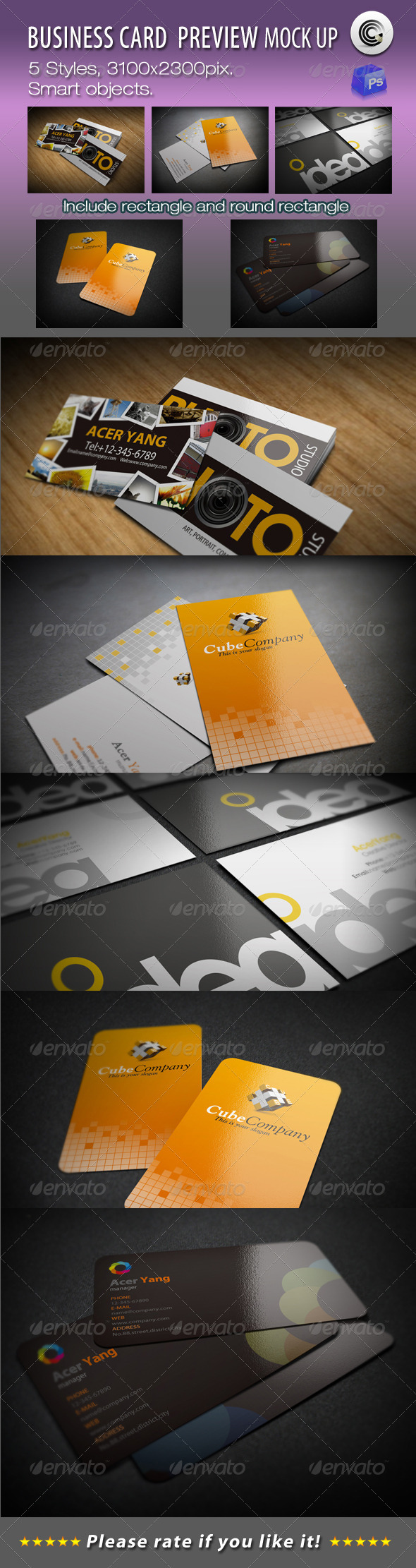 5 Styles Business Card Preview Mock-ups - Business Cards Print