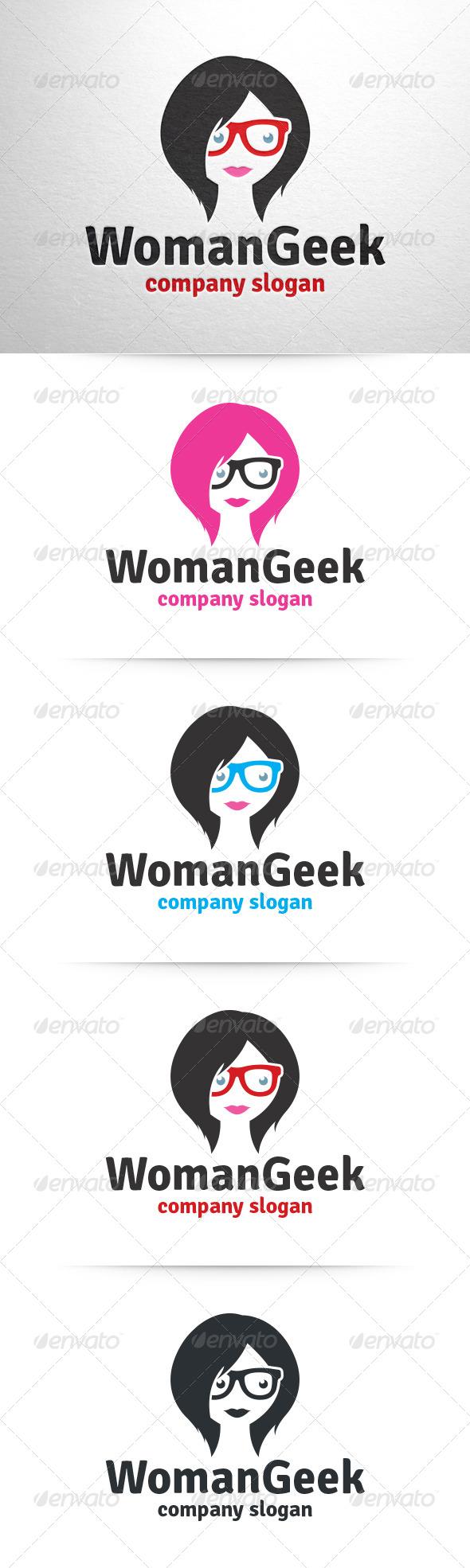Woman Geek Logo Template - Humans Logo Templates