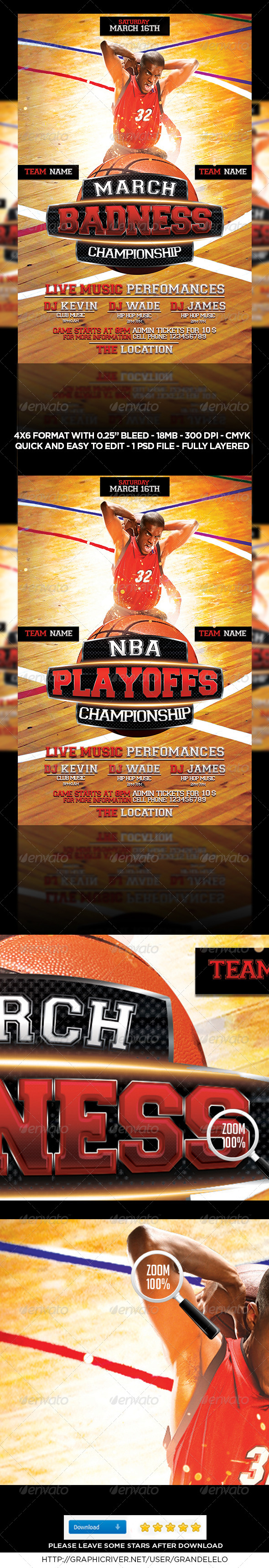 Basket Ball Flyer Template - Sports Events