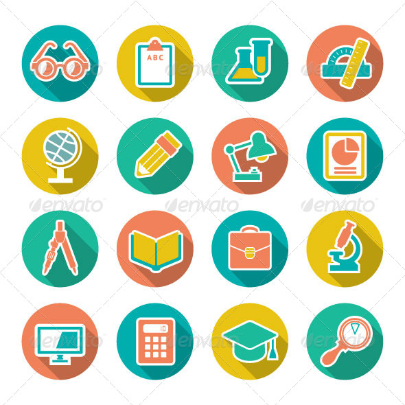 Set Flat Icons of School and Education - Man-made objects Objects