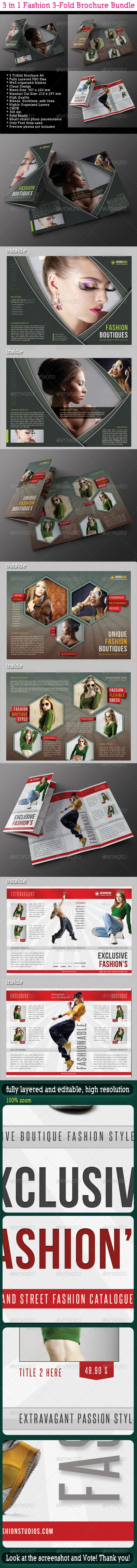 3 in 1 Fashion 3-Fold Brochure Bundle 05 - Catalogs Brochures