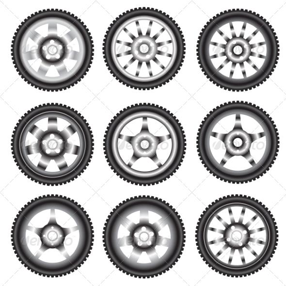 Automotive Wheel with Alloy Wheels  - Web Elements Vectors