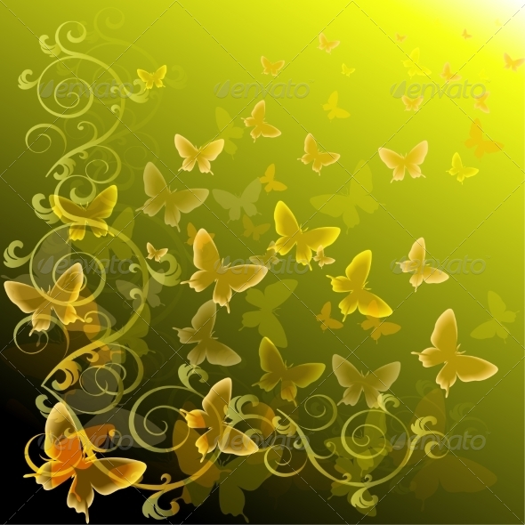 Abstract Colourful Background with Butterflies - Animals Characters