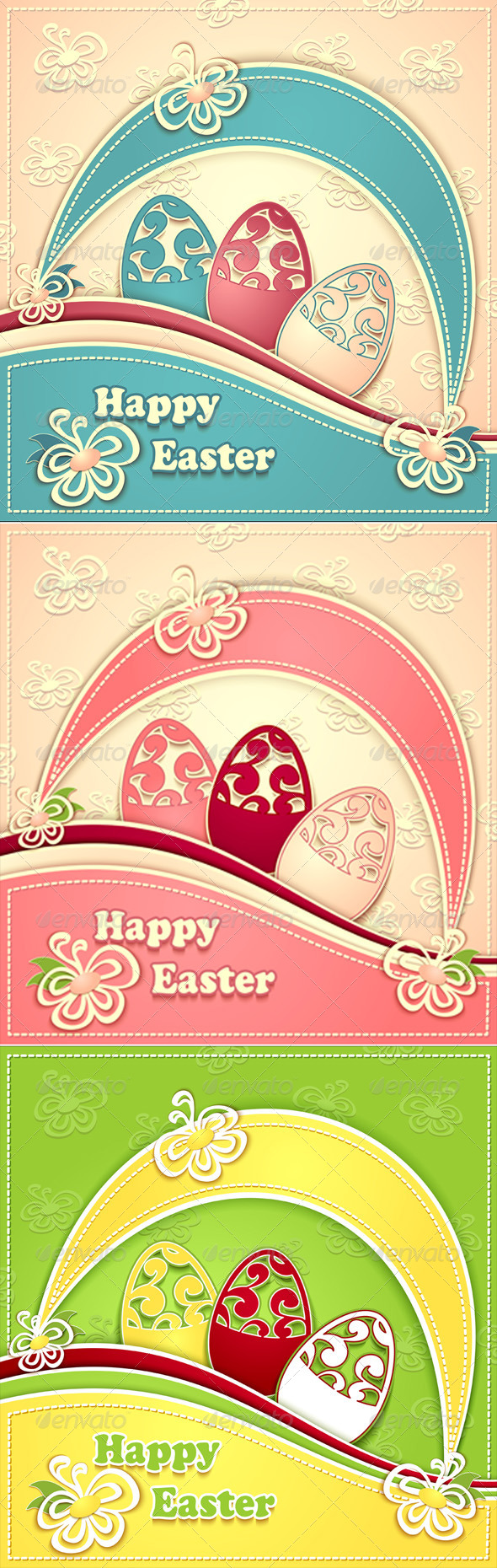 Post Card with Paper Easter Eggs Flowers - Seasons/Holidays Conceptual