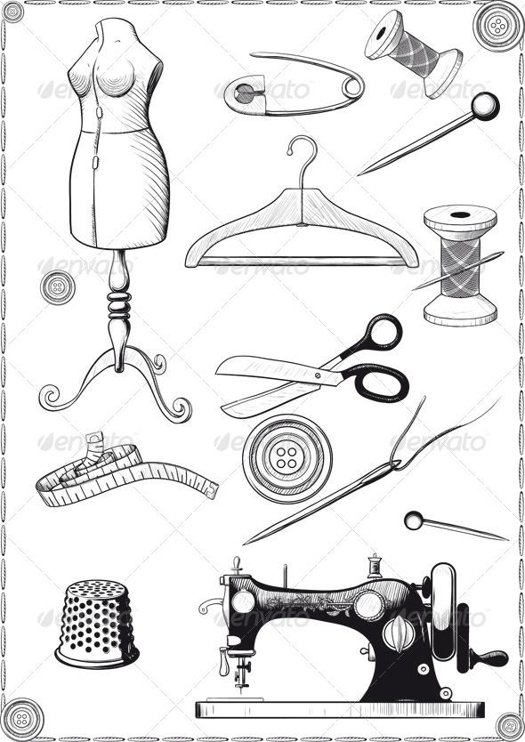 Accessories for Sewing - Decorative Symbols Decorative