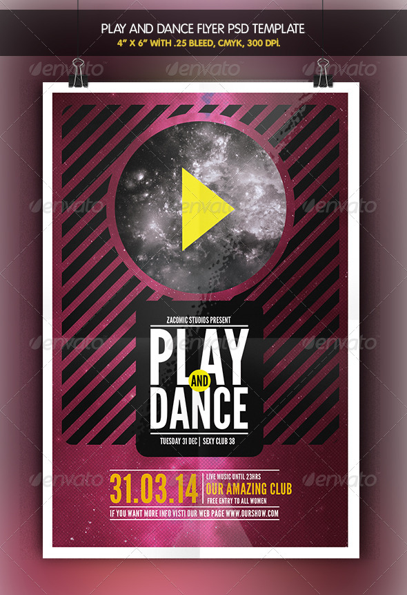 Play and Dance | Flyer Template - Clubs & Parties Events