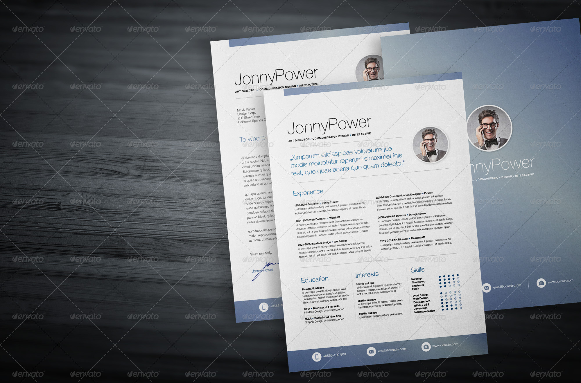 professional resume cv ultra light blue by voevisual graphicriver