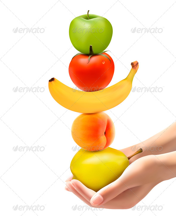 Hands Holding a Pyramid of Healthy Fruit - Food Objects