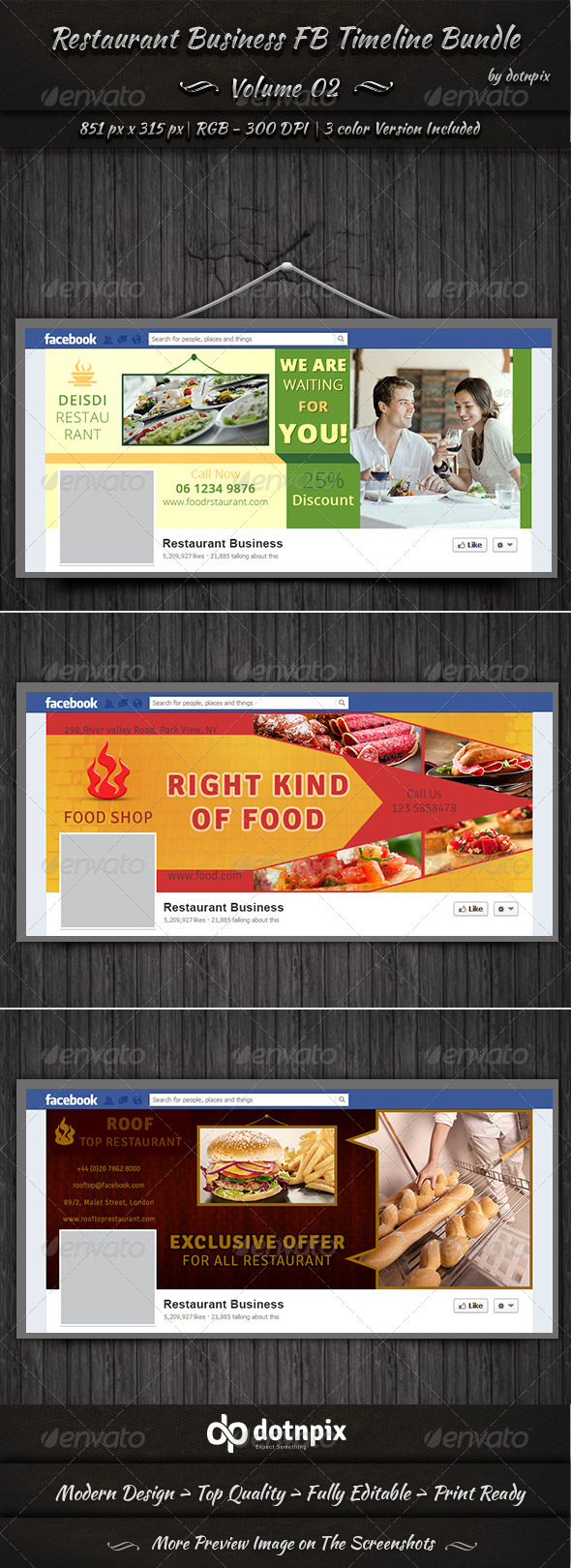 Restaurant Business FB Timeline Bundle | Volume 2 - Facebook Timeline Covers Social Media