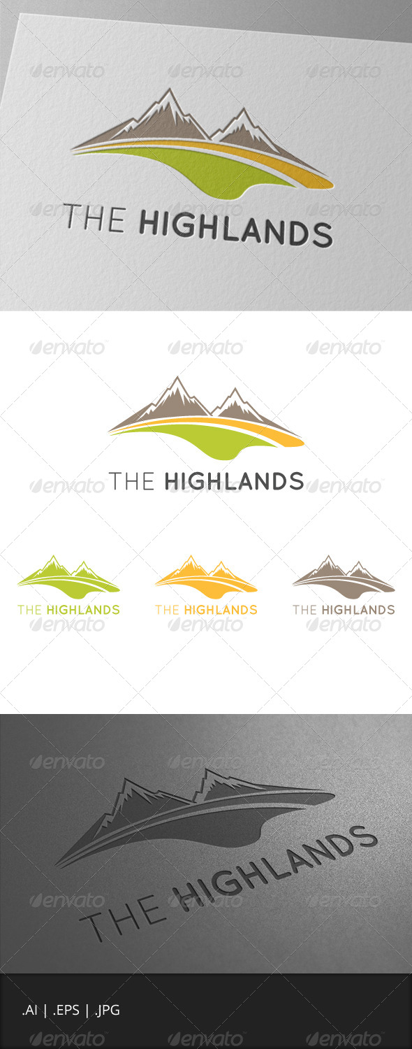 The Highlands Mountain Logo - Nature Logo Templates