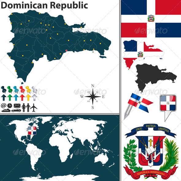 Map of Dominican Republic - Travel Conceptual