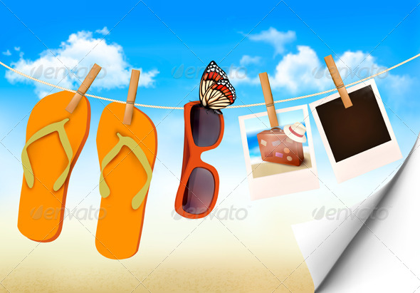 Flip Flops and Photo Cards Hanging on Rope - Travel Conceptual