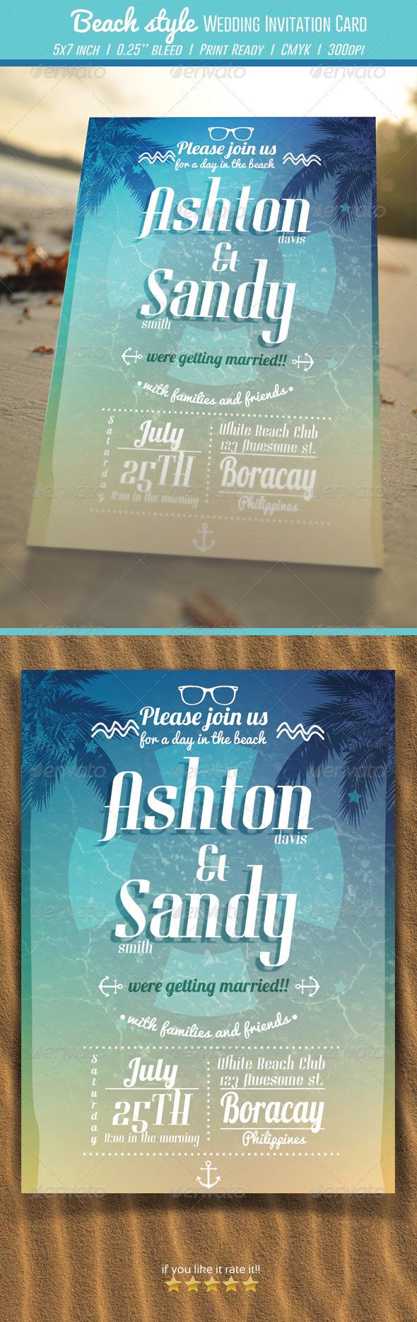 Beach Style Wedding Invitation Card - Weddings Cards & Invites