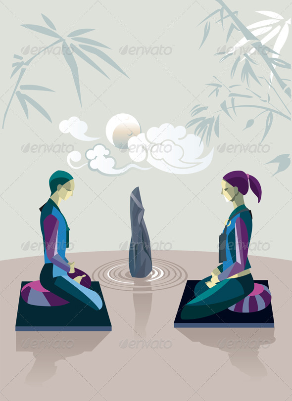 Couple Practicing Zen Meditation  - Religion Conceptual