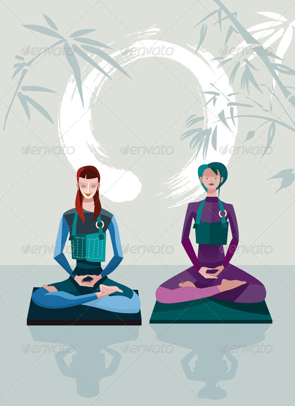 Two Women Meditating - Religion Conceptual