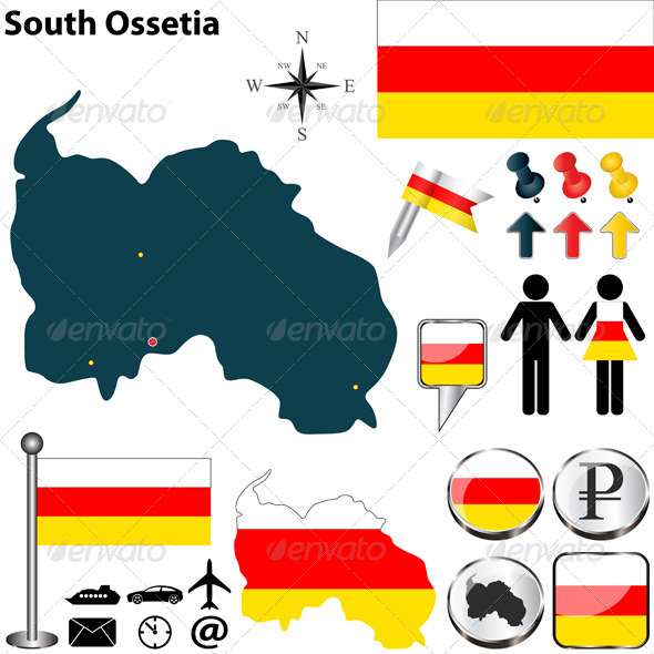 Map of South Ossetia - Travel Conceptual
