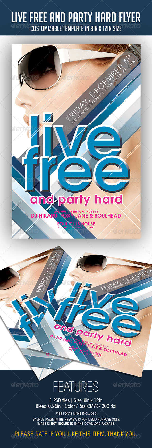 Live Free And Party Hard Flyer - Clubs & Parties Events