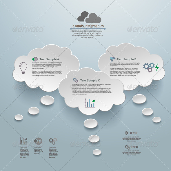Clouds Thinking Infographic Background - Infographics