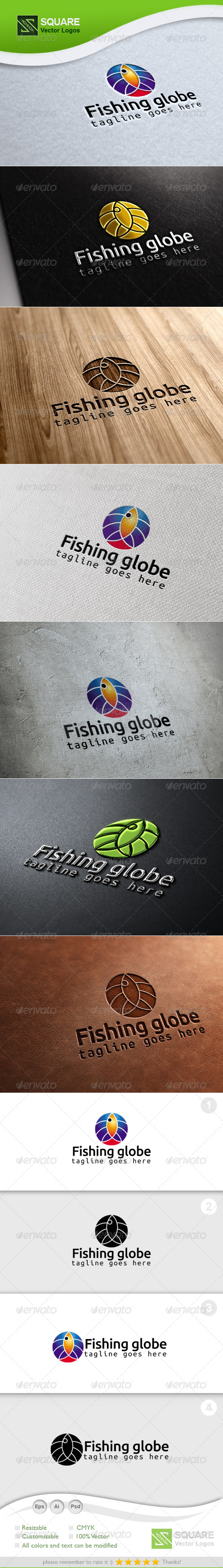 Fish, Globe Vector Logo Template - Animals Logo Templates