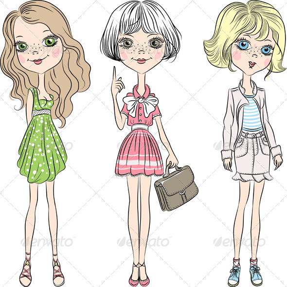 Fashion Girl Vector Set - People Characters