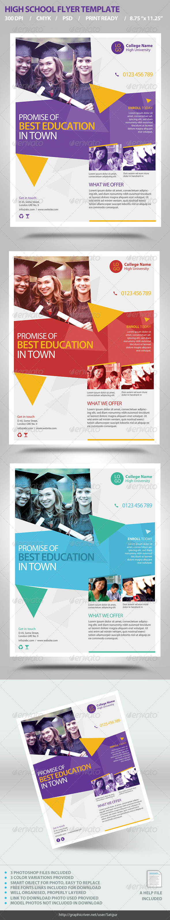 high school flyer template by satgur graphicriver
