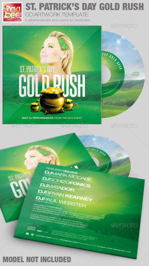 Saint Patrick's Day Gold Rush CD Artwork Template - CD & DVD Artwork Print Templates