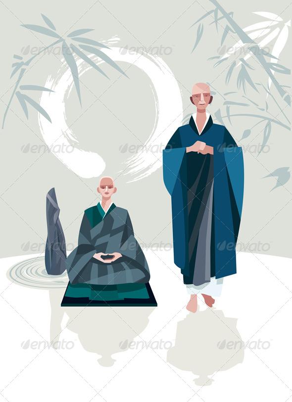 Zen Master and Disciple Vertical - Religion Conceptual