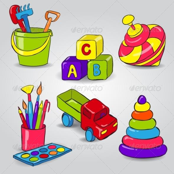 Set of Childrens Toys - Miscellaneous Vectors