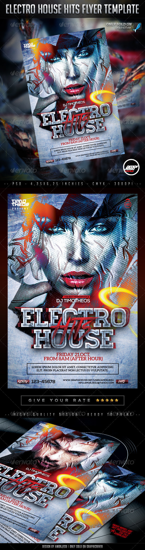 Electro House Hits Flyer Template - Clubs & Parties Events