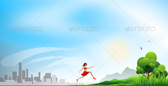 Running from a City to the Nature - Miscellaneous Vectors