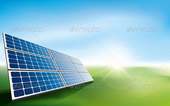 Solar Panels in a Field of Grass - Technology Conceptual