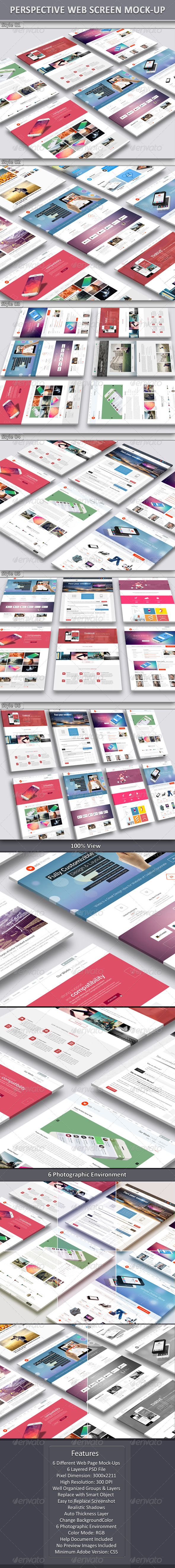 Perspective Web Screen Mock-Up - Website Displays