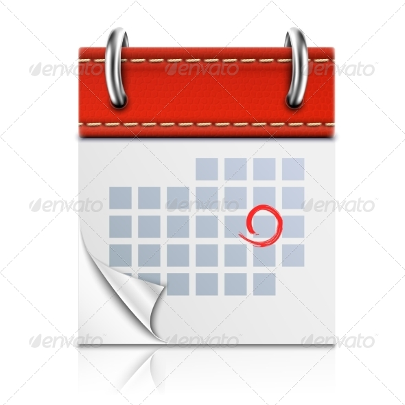 Realistic Isolated Red Calendar Icon. - Concepts Business