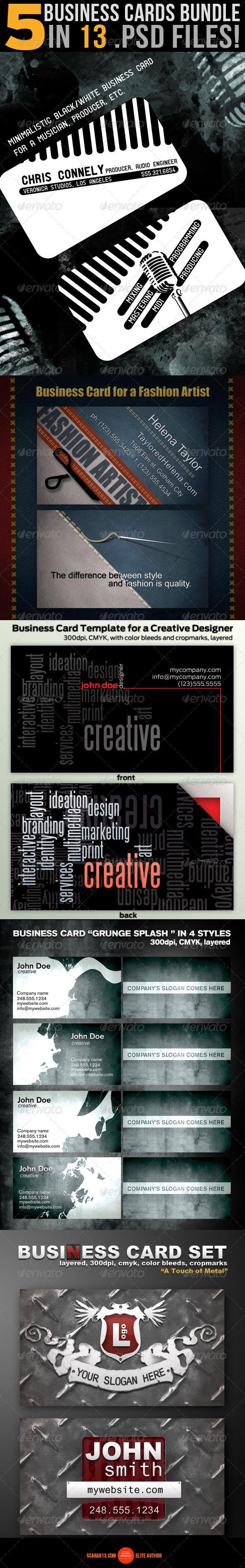 5 Business Card Design Bundle - Business Cards Print Templates