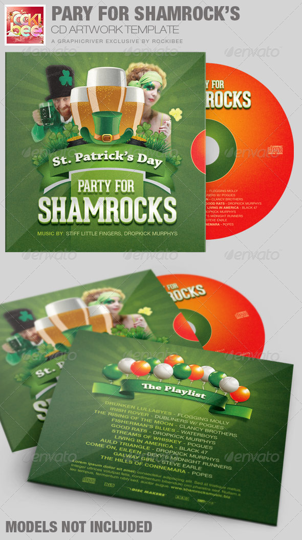 Party For Shamrocks St.Patrick's CD Artwork - CD & DVD Artwork Print Templates