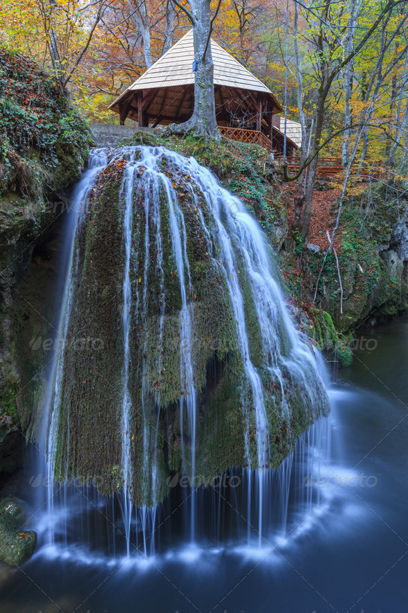 Bigar Cascade Falls in Nera Beusnita Gorges National Park, Romania - Stock Photo - Images