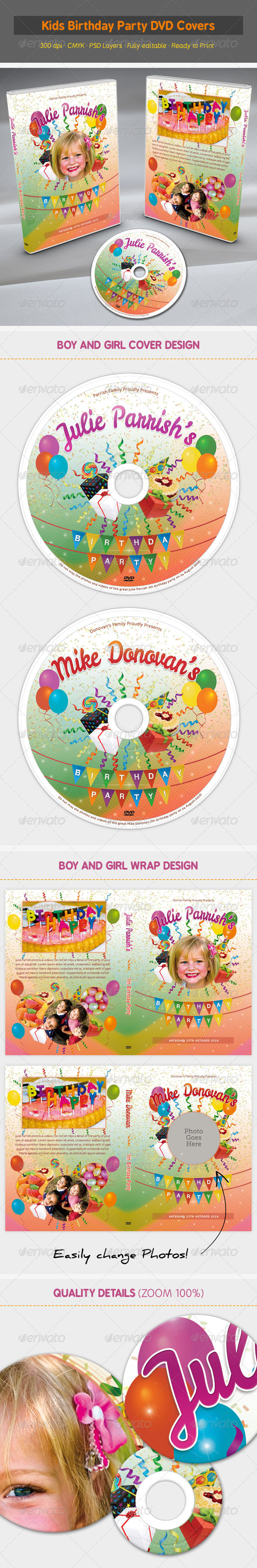 Kids Birthday Party DVD Covers - CD & DVD Artwork Print Templates