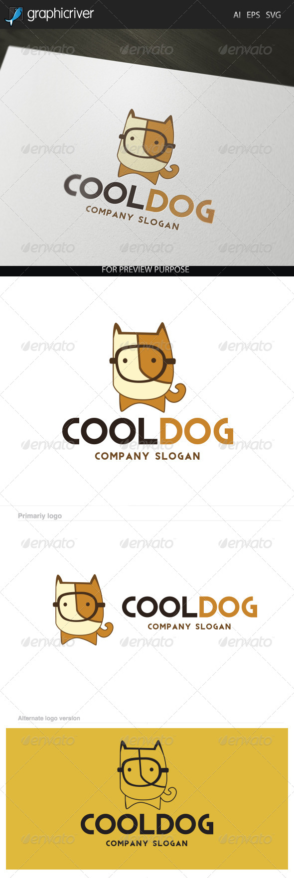 Cool Dog Logo - Letters Logo Templates