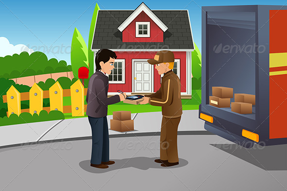 Mailman Delivering a Package - People Characters