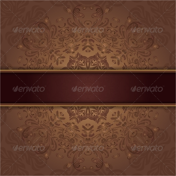 Card with Abstract Lace Pattern and Ribbon - Backgrounds Decorative